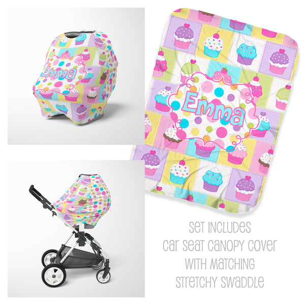 Cupcake Car Seat Cover & Swaddle Set
