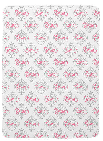Personalized Damask Baby Blanket for Girls