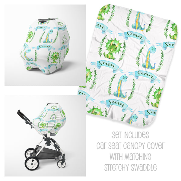 Dino Car Seat Cover & Swaddle Set