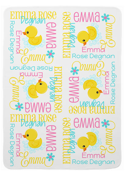 Personalized Duck Baby Blanket for Girls
