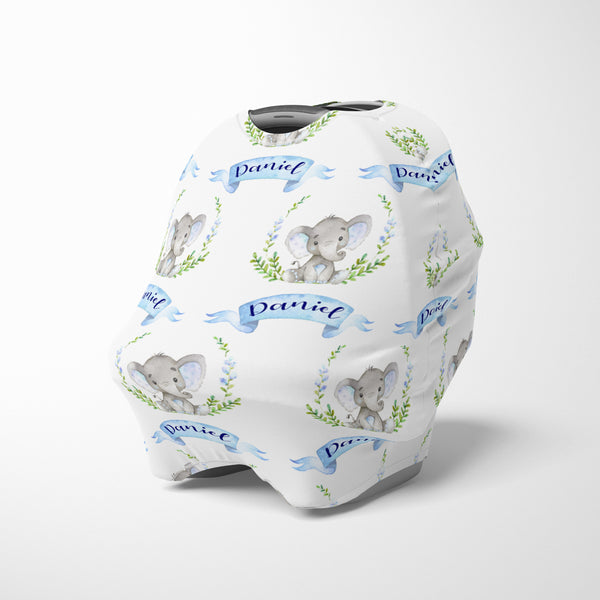 Personalized boy elephant car seat cover canopy