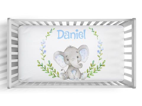 Personalized boy elephant fitted crib sheet