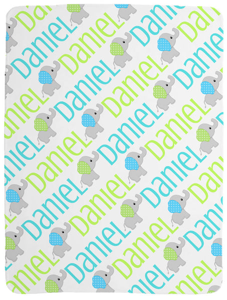Personalized Elephant Baby Blanket for Boys
