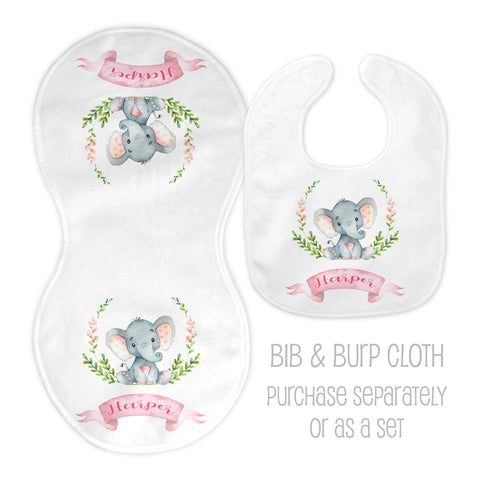 Personalized elephant bib and burp cloth for girls