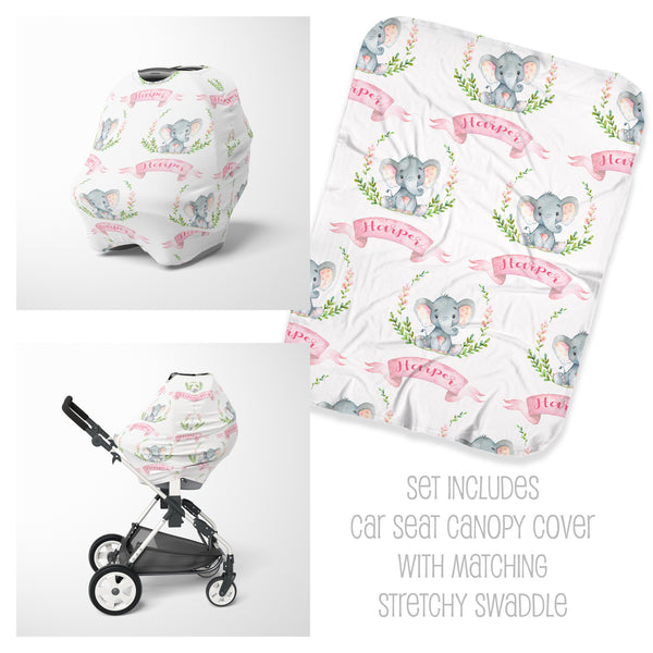 Elephant Car Seat Cover & Swaddle Set for Girls