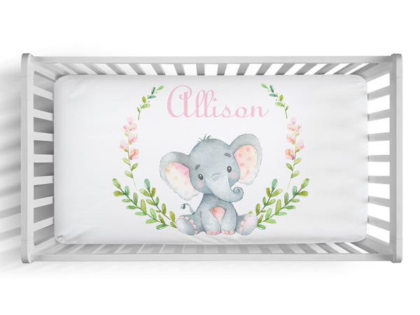 Personalized girl elephant fitted crib sheet