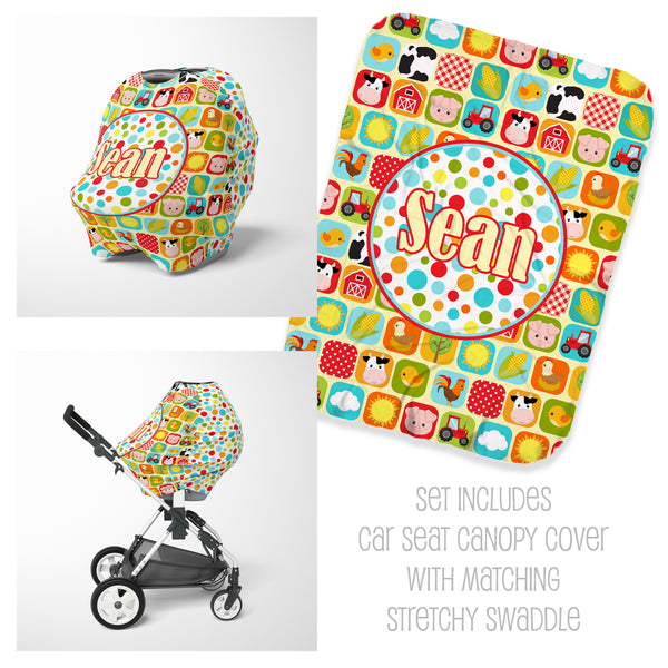 Farm Car Seat Cover & Swaddle Set