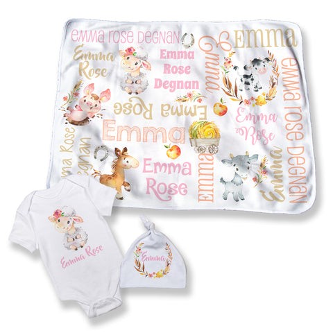 Personalized Farm Animal Blanket