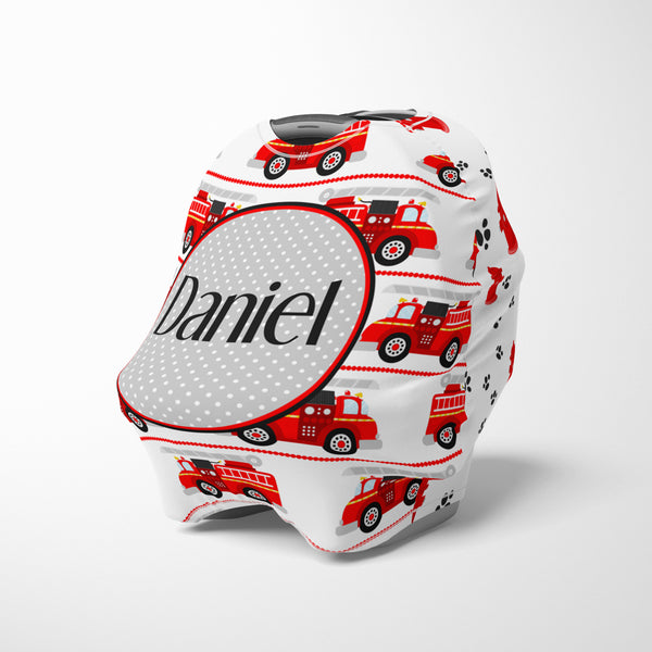Personalized baby car seat cover canopy with fire trucks
