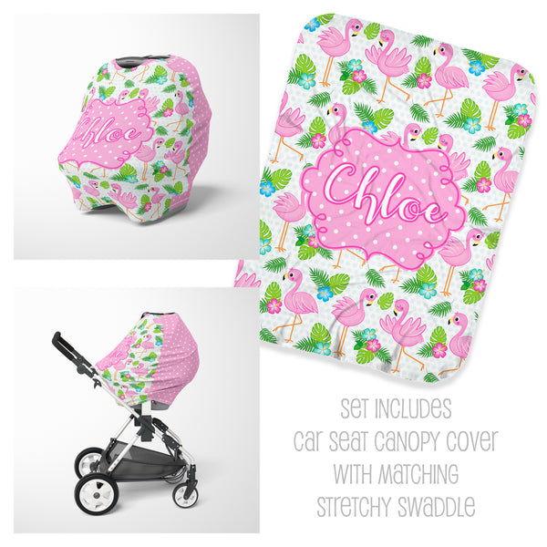 Flamingo Car Seat Cover & Swaddle Set