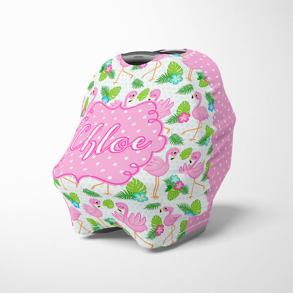 Personalized baby girl car seat cover canopy with flamingo