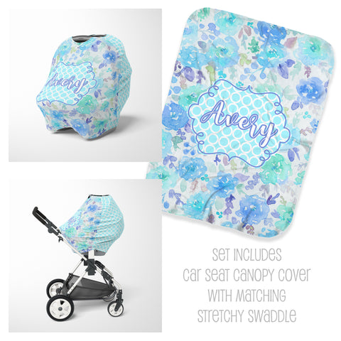 Personalized aqua blue floral car seat cover canopy and swaddle