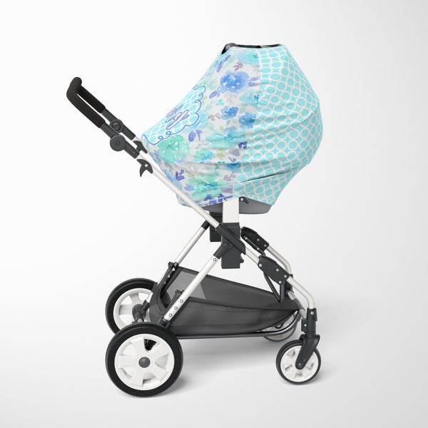 Aqua Blue Floral Car Seat Cover