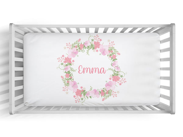 Personalized floral wreath fitted crib sheet