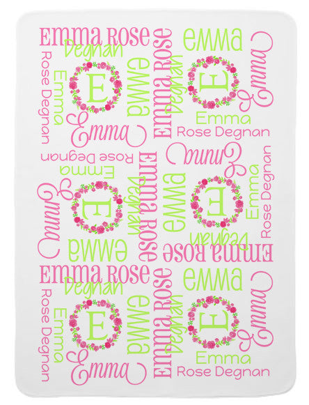 Personalized Floral Wreath Baby Blanket for Girls
