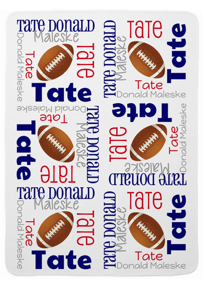 Personalized Football Baby Blanket for Boys