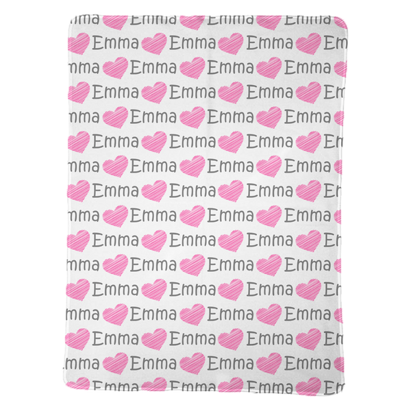 Personalized Heart Baby Blanket for Girls