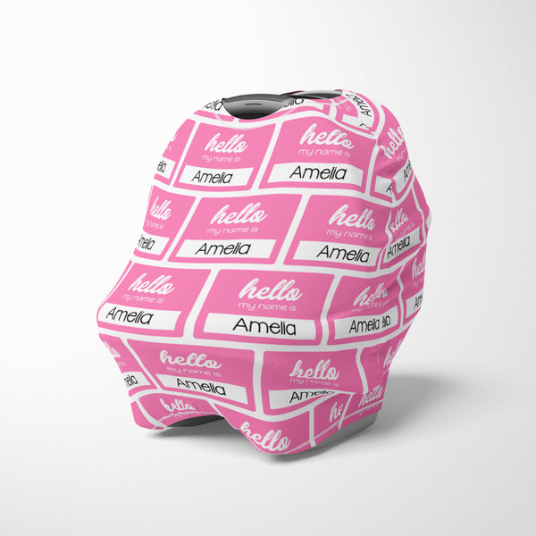 Personalized hello name label car seat canopy cover