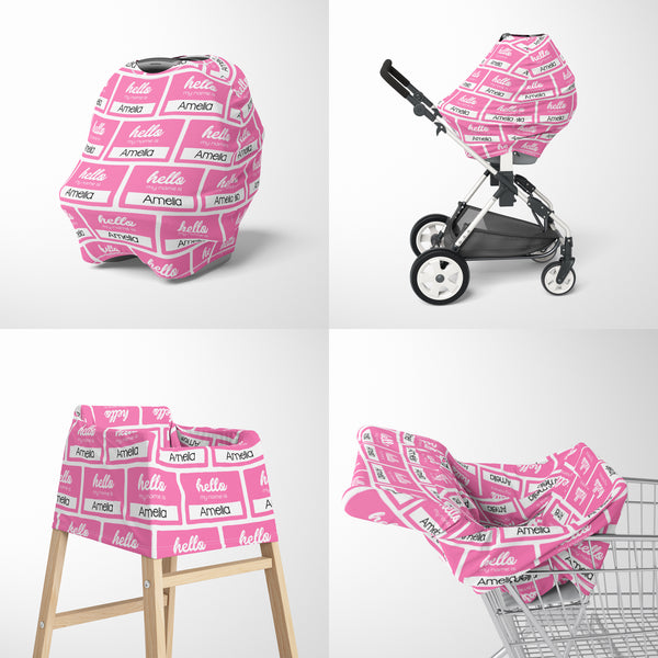 Hello My Name Is Car Seat Cover for Girls