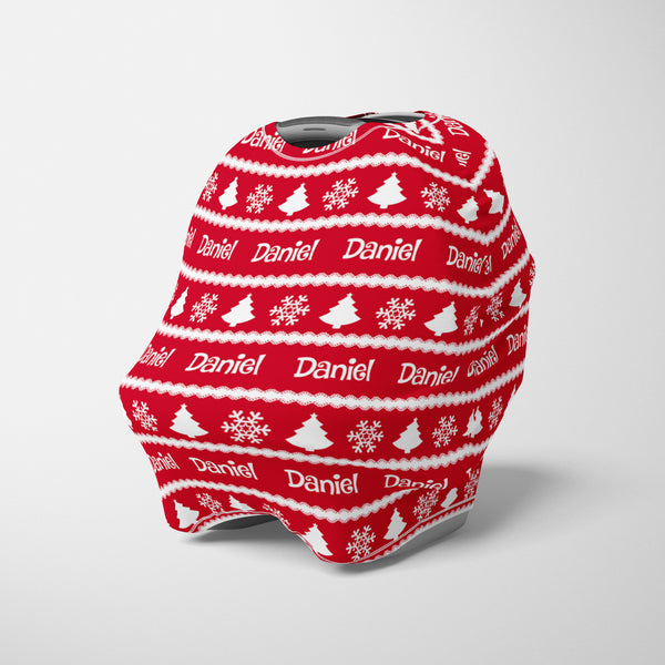 Personalized winter holiday car seat cover canopy