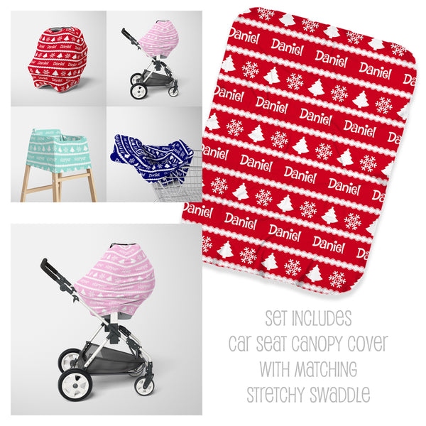 Winter Holiday Car Seat Cover & Swaddle Set