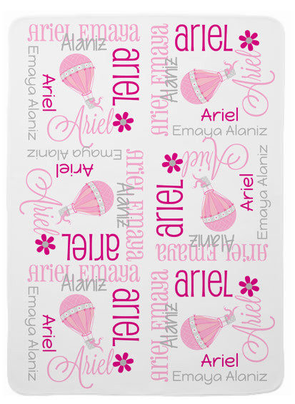 Personalized Hot Air Balloon Baby Blanket for Girls