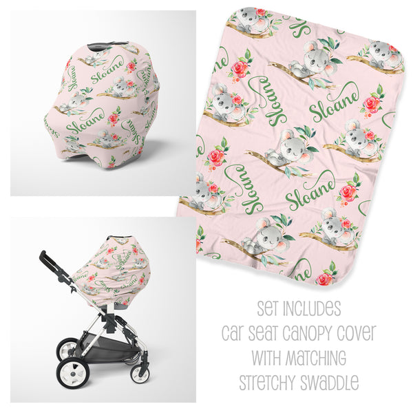 Koala Car Seat Cover & Swaddle Set for Girls