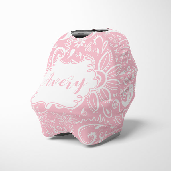Personalized modern rose pink car seat cover canopy