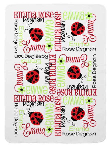 Personalized Ladybug Baby Blanket for Girls