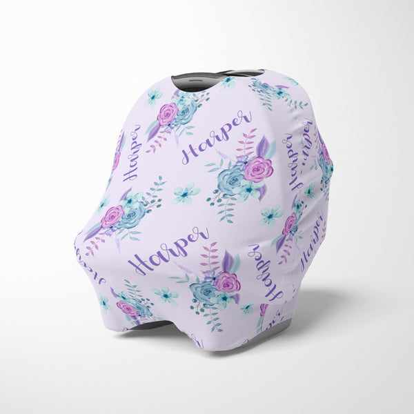 Personalized lavender floral car seat cover canopy