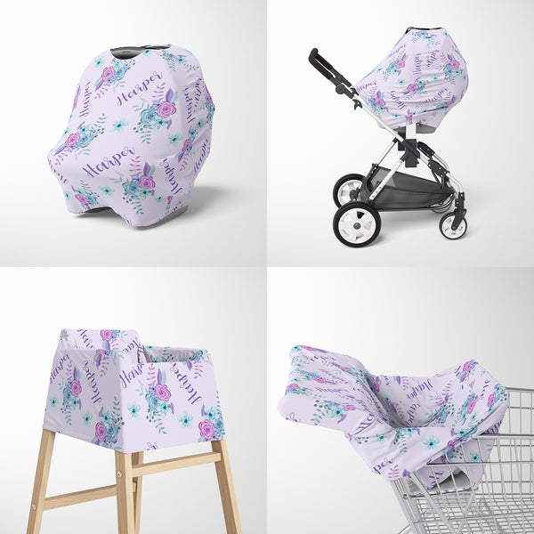 Lavender Floral Car Seat Cover