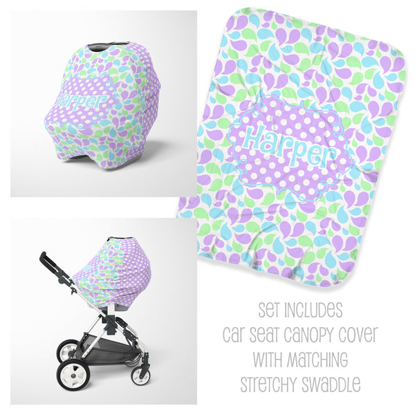 Spring Leaves Car Seat Cover & Swaddle Set