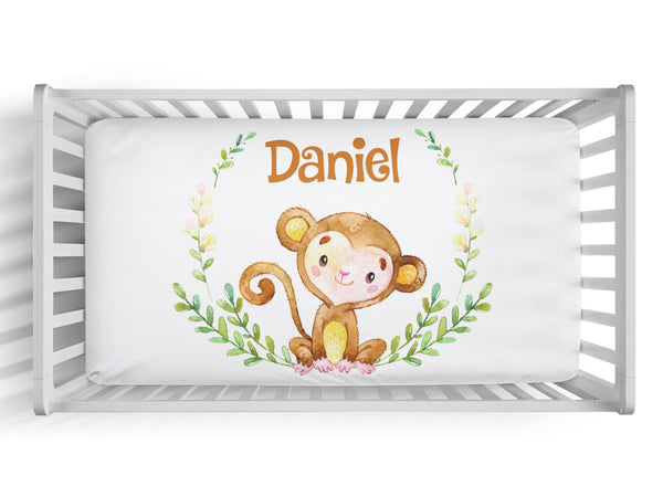 Personalized boy monkey fitted crib sheet