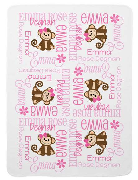Personalized Monkey Baby Blanket for Girls