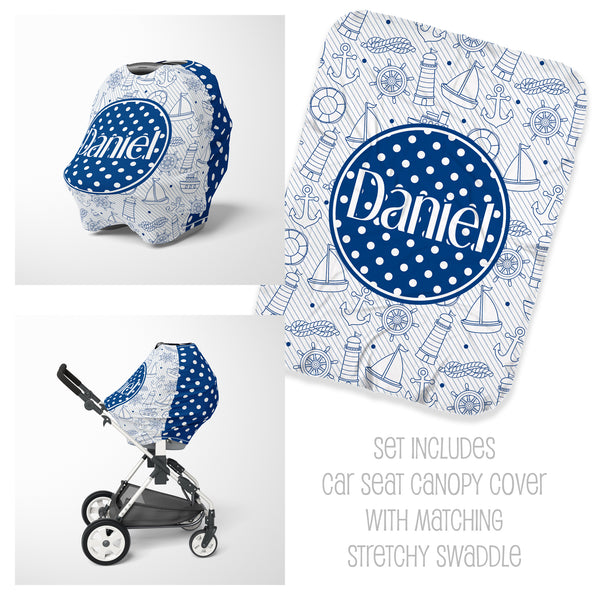 Nautical Car Seat Cover & Swaddle Set