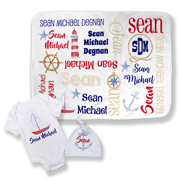Personalized Nautical Baby Blanket