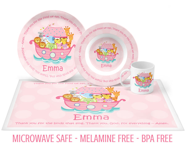 Noah's Ark Tableware with Prayer for Girls