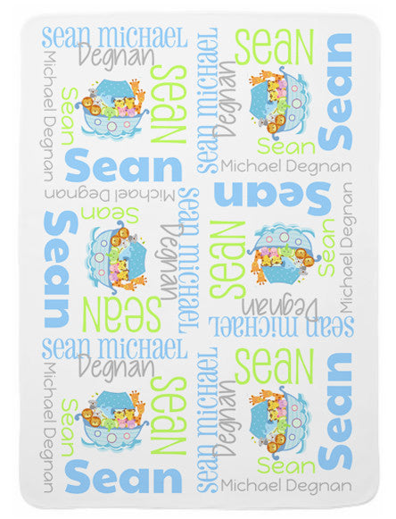Personalized Noah's Ark Baby Blanket for Boys