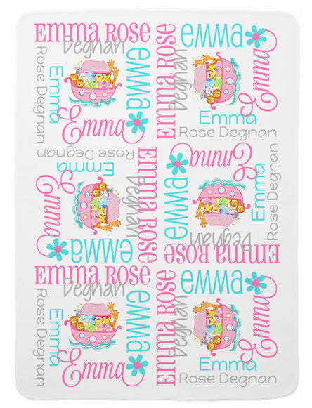 Personalized Noah's Ark Baby Blanket for Girls
