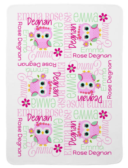 Personalized Flower Owl Baby Blanket for Girls