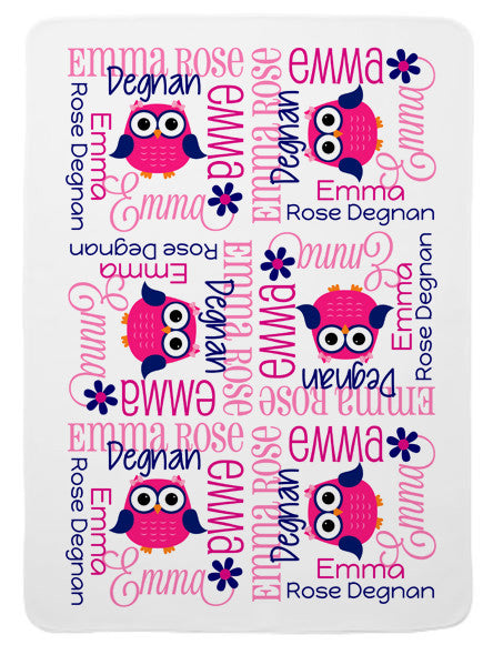 Personalized Preppy Owl Baby Blanket for Girls