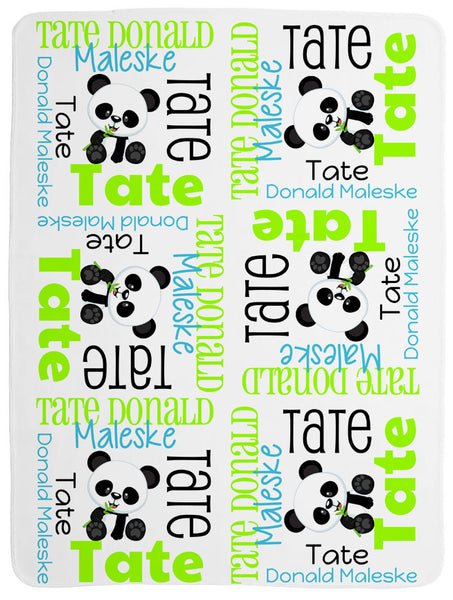 Personalized Panda Baby Blanket for Boys