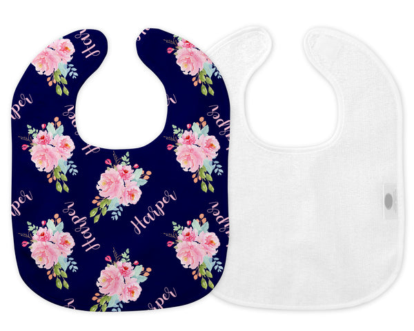 Peonies Floral Bib & Burp Cloth for Girls