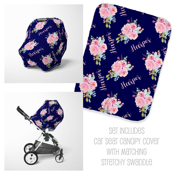 Peonies Floral Car Seat Cover & Swaddle Set
