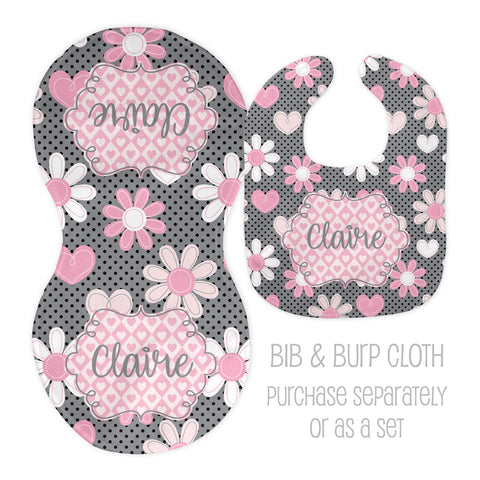 Personalized pink and grey flower bib and burp cloth