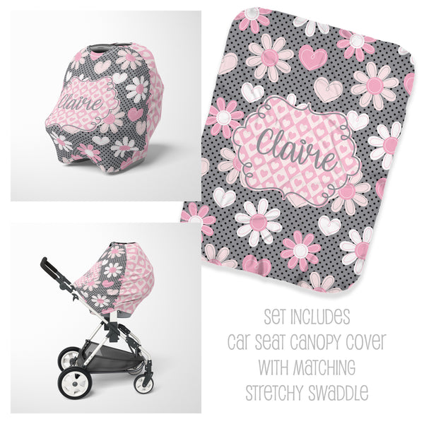 Pink & Grey Floral Car Seat Cover & Swaddle Set