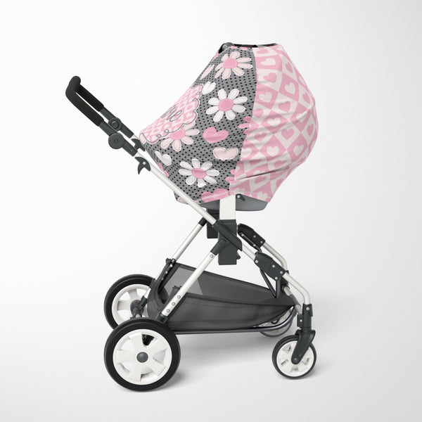 Pink & Grey Floral Car Seat Cover