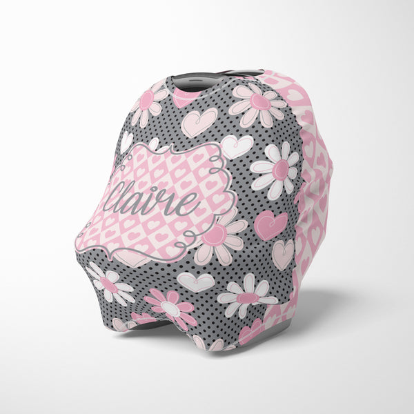 Personalized pink grey floral car seat cover canopy