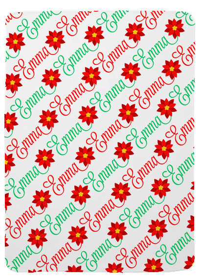 Personalized Holiday Poinsettia Baby Blanket for Girls