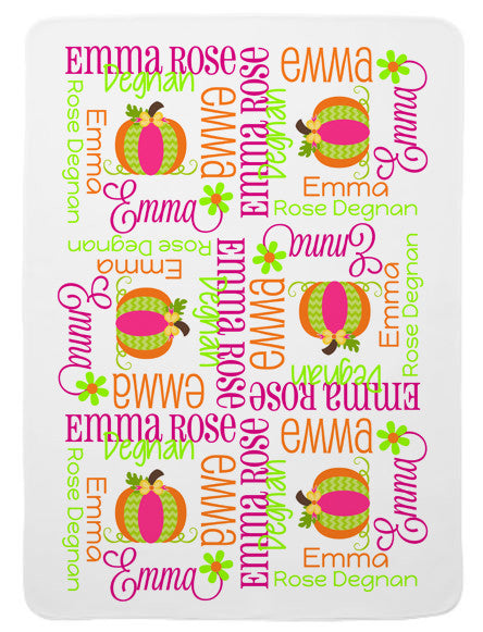 Personalized Pumpkin Baby Blanket for Girls